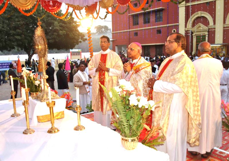 Clergymen of the Roman Catholic Diocese of Allahabad during feast of Christ in Allahabad, on Nov 23, 2014.