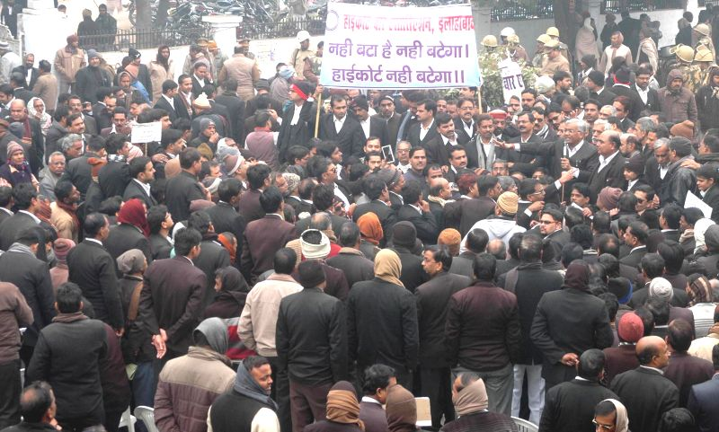 Lawyers demonstrate against setting up of a separate High Court Bench in West UP, in Allahabad on Dec 22, 2014.