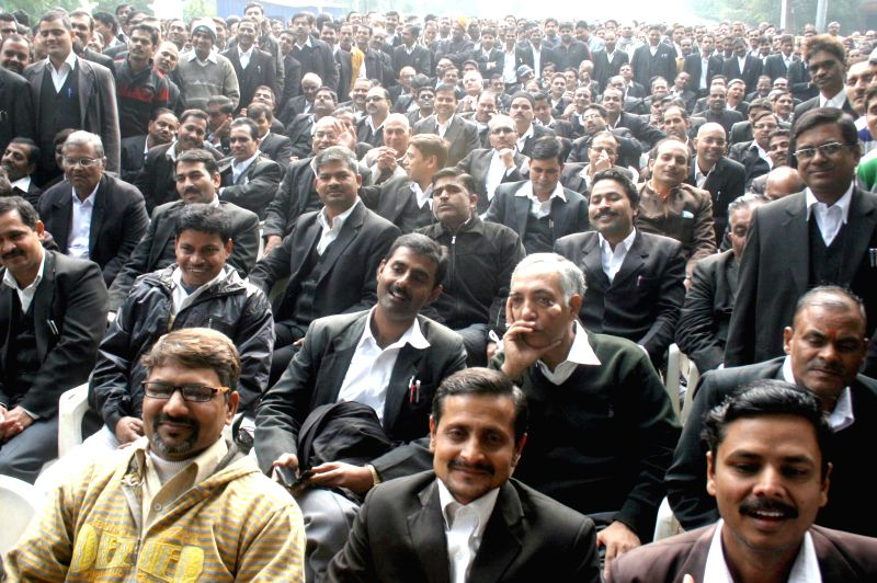 Lawyers of Allahabad High Court participate in a rally organised to demand a separate high court bench for Western Uttar Pradesh in Allahabad, on Dec 15, 2014.