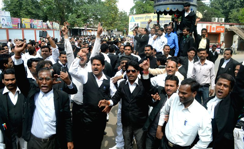 Lawyers stage a demonstration against the Uttar Pradesh government in Allahabad, on March 12, 2015.