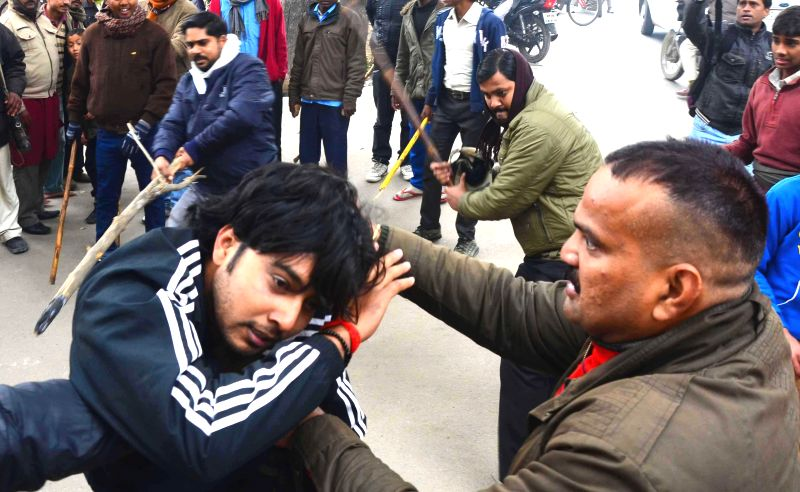 Private security guards of Sam Higginbottom Institute of Agriculture, Technology & Sciences (SHIATS) beat up ABVP activists during a demonstration against the Vice Chancellor of the ...