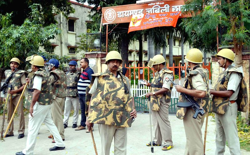 Security beefed-up outside Diamond Jubilee Hostel in wake of student's agitation in Allahabad, on March 30, 2015.