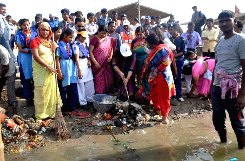The banks of Ganga river being cleaned under the `Namami Ganga` project in Allahabad, on April 3, 2015.
