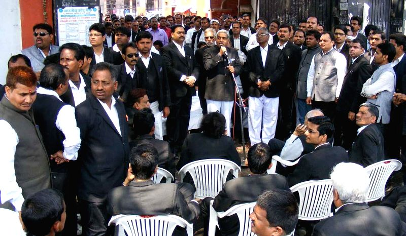 The lawyers of Allahabad district court stage a demonstration at the court in Allahabad, on March 16, 2015.