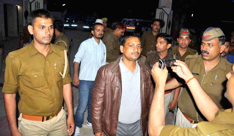 The policeman accused of killing a lawyer in Allahabad being taken to Naini Central Jail in Allahabad, on March 13, 2015.