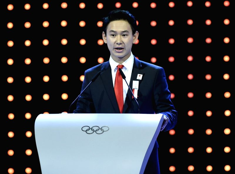 ALMATY, July 20, 2018 - File photo taken on July 31, 2015 shows Denis Ten of Kazakhstan delivers a speech during Almaty's 2022 Olympic Winter Games bid presentation at the 128th International Olympic ...
