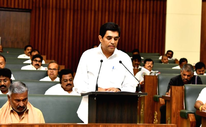 Amaravati: Andhra Pradesh Finance Minister Buggana Rajendranath presents the annual state Budget 2019-20, at the Legislative Assembly in Amaravati on July 12, 2019. (Photo: IANS)