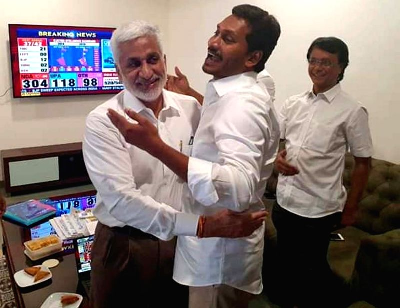 Amaravati: YSR Congress Party (YSRCP) chief Jagan Mohan Reddy celebrates after his party emerged victorious in the Andhra Pradesh Assembly elections in Amaravati, on May 23, 2019. He will take oath as the new Chief Minister of Andhra Pradesh on May 3
