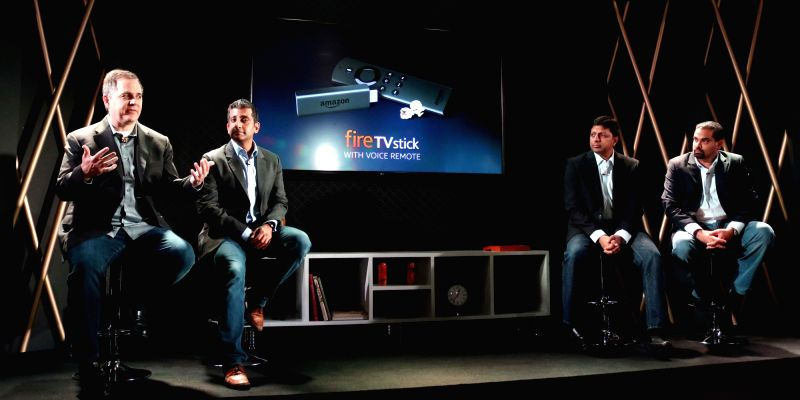 Amazon India Senior Vice President Amit Agarwal with Amazon Fire TV Stick Vice President Mark Whitten at the launch of Amazon Fire TV Stick in New Delhi on APril 19, 2017.