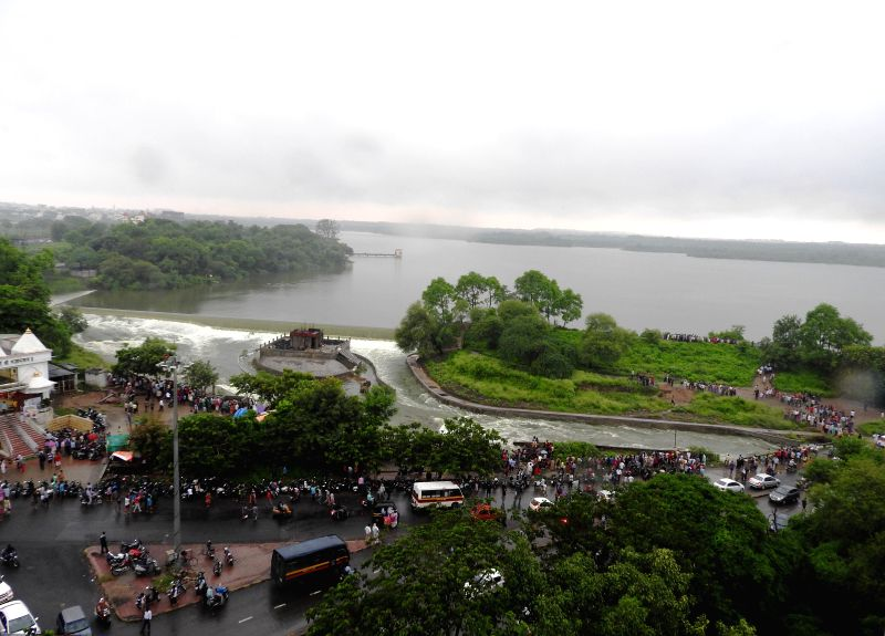 Ambajhari lake overflows in Nagpur, on Aug 13, 2015.