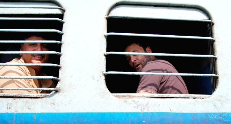 Congress vice president Rahul Gandhi travels in a general compartment of the Sachkhand Express from Delhi to Ambala, on April 28, 2015. - Rahul Gandhi