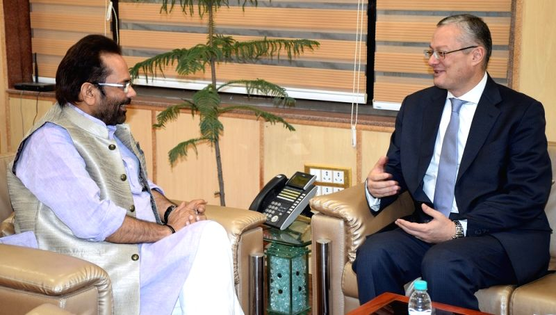 Ambassador of Egypt to India Hatem Tageldin meets Union Minister Mukhtar Abbas Naqvi, in New Delhi on April 25, 2017. - Mukhtar Abbas Naqvi