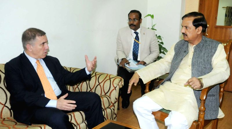 Ambassador of Israel in India Daniel Carmon meets the Minister of State for Culture (Independent Charge), Tourism (Independent Charge) and Civil Aviation, Dr. Mahesh Sharma, in New Delhi ...