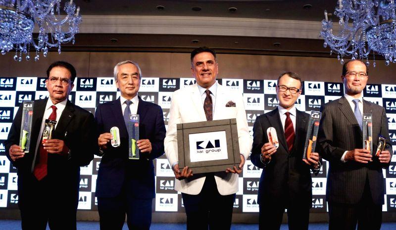 Ambassador of Japan to India  Hiramatsu-San, KAI Group CEO and president Koji Endo,  KAI Group COO Rajesh Pandya and actor Boman Irani  at the launch of KAI Group in New Delhi, on May ... - Boman Irani