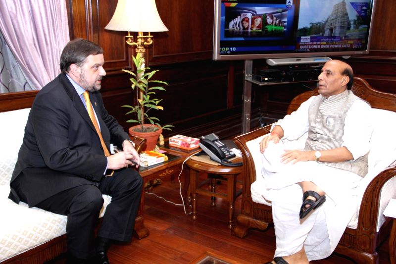 Ambassador of Spain to India, Gustavo Aristegui calls on the Union Home Minister Rajnath Singh, in New Delhi on September 04, 2014.