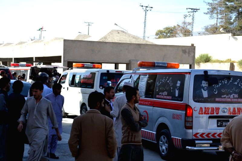Ambulances carrying bodies of victims arrive at a hospital in Quetta, Pakistan, Oct. 30, 2015. At least five people were killed and two others injured as a car ...