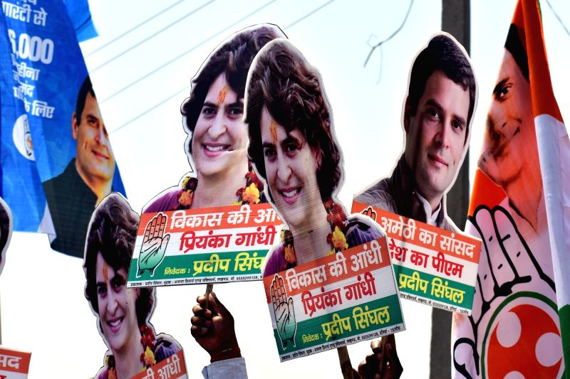 Amethi: Cutouts of Congress President Rahul Gandhi and Priyanka Gandhi during an election rally in Amethi, Uttar Pradesh where the former filed his nominations on April 10, 2019. (Photo: IANS)