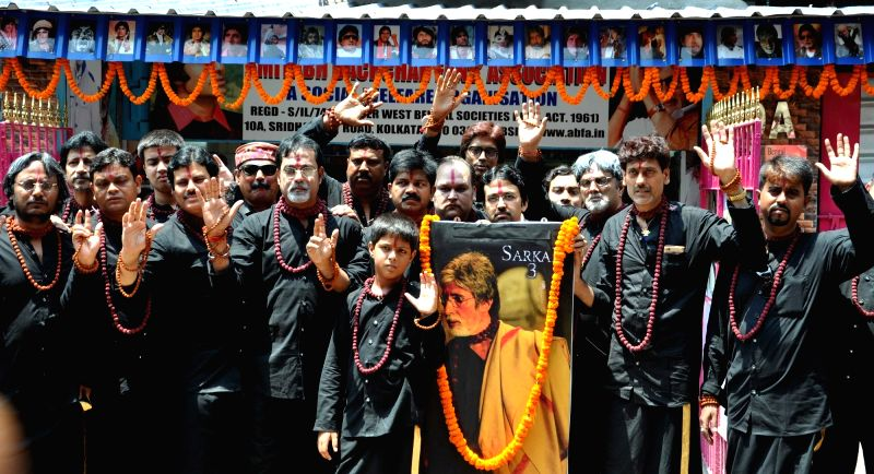 "Amitabh Bachchan Fan's Association members celebrate release of film ""Sarkar 3"" in Kolkata on May 12, 2017. - Amitabh Bachchan F"
