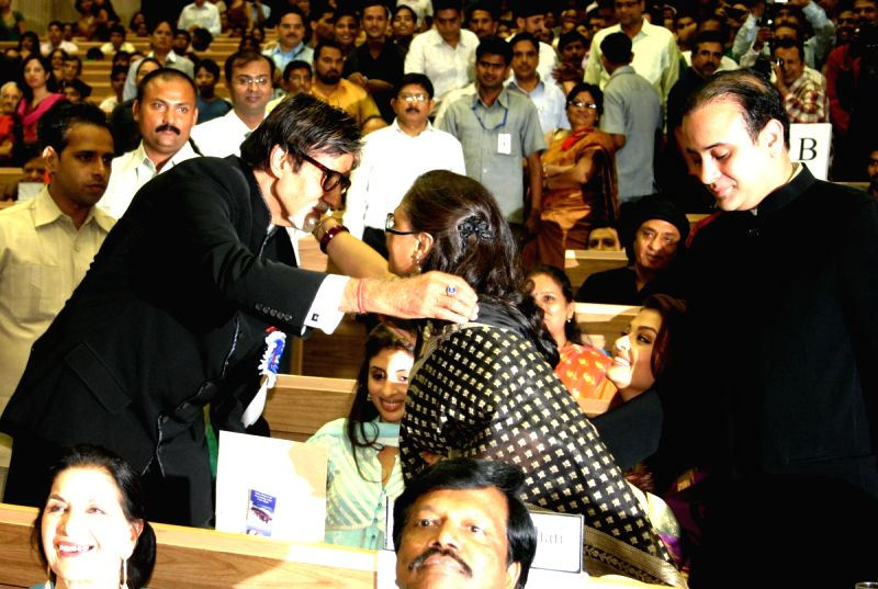 Amitabh Bachchan with family members after receiving the Best Actor award for Paa at the 57th National Films Awards, in New Delhi on Friday 22 Oct 2010.