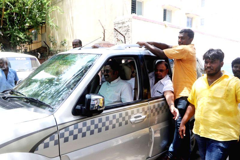 Amma Makkal Munnetra Kazhagam leader T. T. V. Dhinakaran during his visit to RK Nagar in Tamil Nadu's Tondiarpet on July 18, 2018.