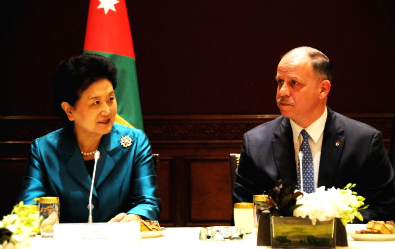 AMMAN, April 21, 2017 - Chinese Vice Premier Liu Yandong (L) meets with Jordanian Prince Faisal, the Regent, in Amman, Jordan, on April 20, 2017. China and Jordan are keen to boost ties in various ...