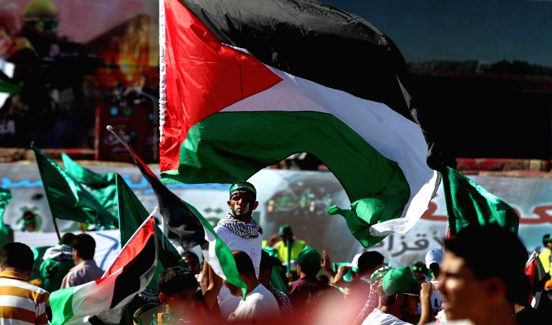 Jordanian supporters of Muslim Brotherhood gather in Amman, capital of Jordan on Aug. 8, 2014. Thousands of Muslim Brotherhood members gathered during a rally for ...
