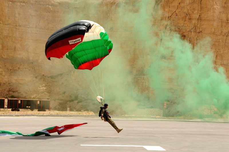 AMMAN, May 1, 2017 - Members of the Jordanian Special forces participate in a drill during the opening ceremony of the five-day ninth annual Warrior Competition held at the King Abdullah II Special ...