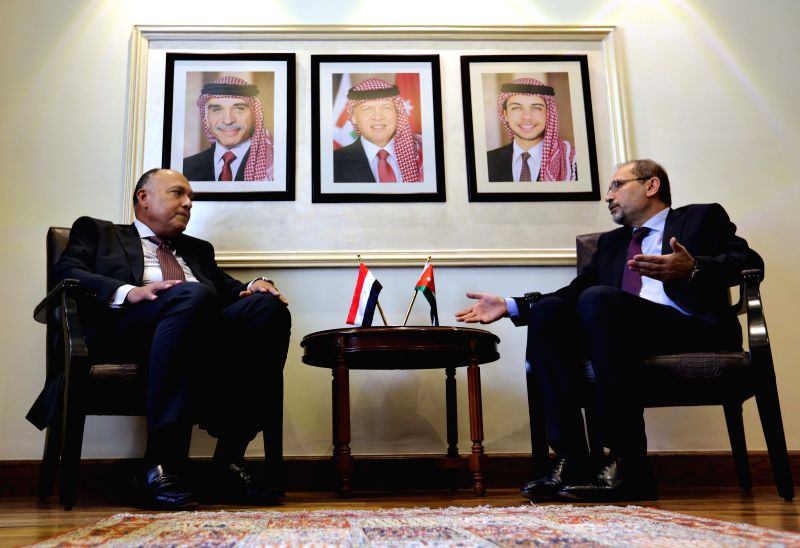 AMMAN, May 14, 2017 - Jordan's Minister of Foreign Affairs Ayman Safadi (R) meets with Egyptian Foreign Minister Sameh Shukri in Amman, capital of Jordan, on May 14, 2017. Jordan on Sunday reiterated ... - Sameh Shukri