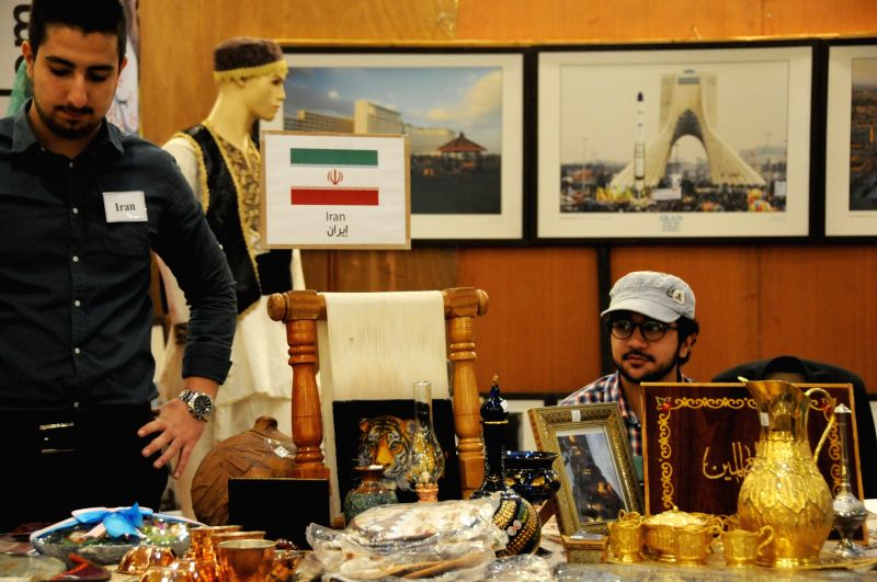 AMMAN, Oct. 7, 2017 - Photo taken on Oct. 7, 2017 shows the stand of Iran at the diplomatic bazaar in Amman, Jordan. The annual Diplomatic Bazaar opened here on Saturday, attracted more than fifty ...