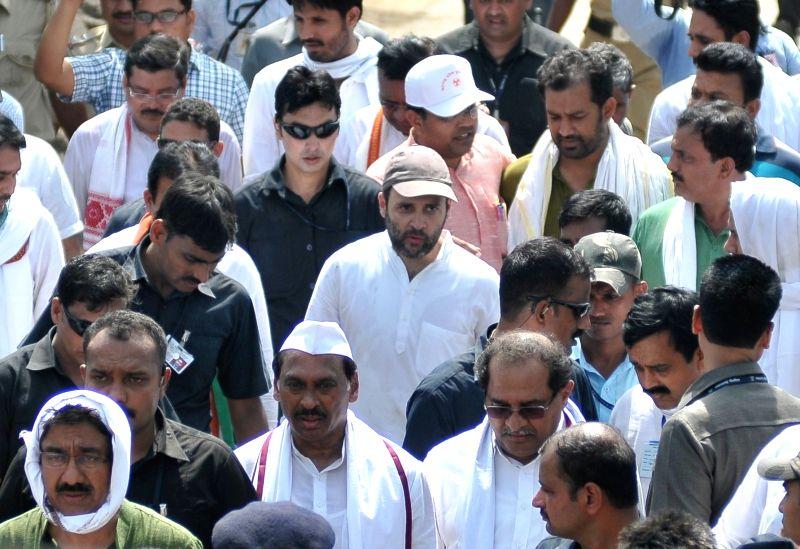 Congress vice-president Rahul Gandhi during his padyatra in Amravati district of Maharashtra's Vidarbha region on April 30, 2015.