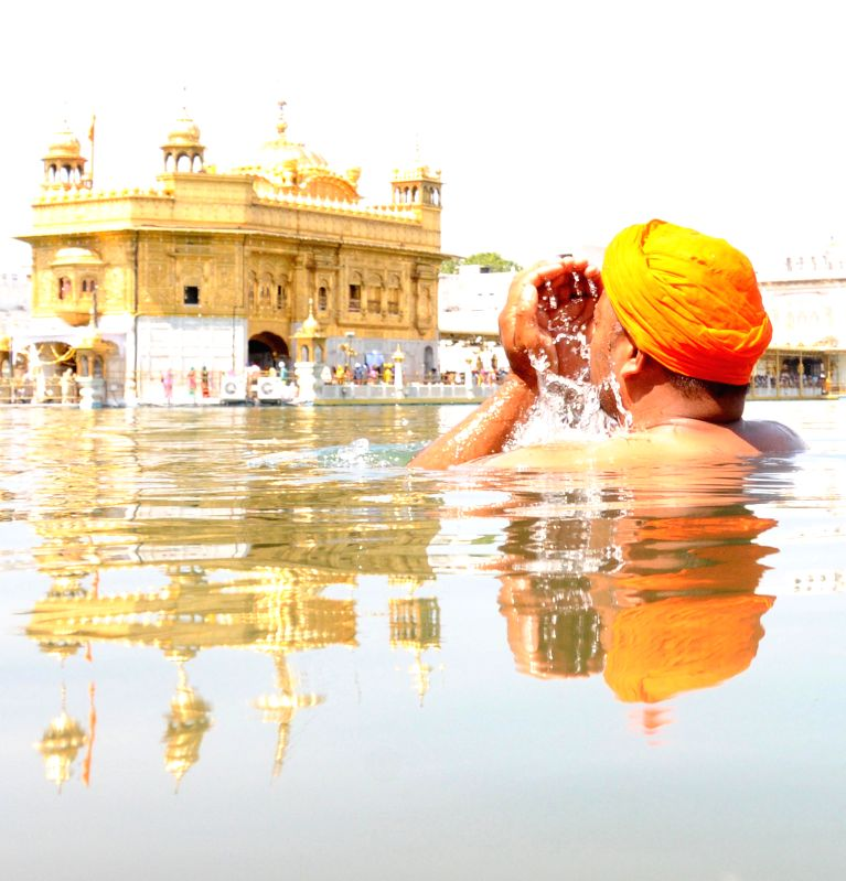 A devotee taking dip in the holy sarovar at the Golden Temple on the occasion of 394th birth anniversary  of the ninth Sikh Guru Teg Bahadur in Amritsar on April 9, 2015.
