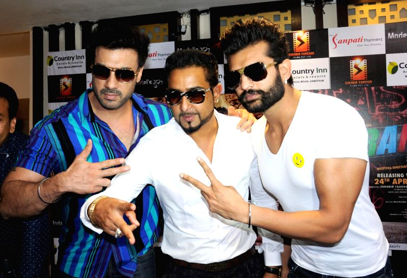 Actors Gavie Chahal, Geeta Zaildar and Yuvraj Hans during a programme organised to promote their upcoming film ``Yaarana`` in Amritsar, on April 22, 2015. - Gavie Chahal, Geeta Zaildar and Yuvraj Hans