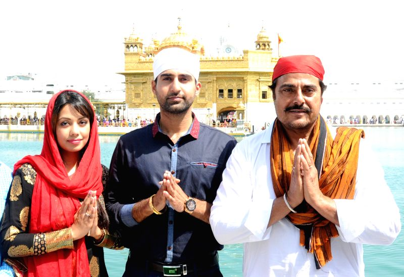 Actress Rishita Monga, Sumeet Singh Sarao and Gugu Gill pay obeisance at the Golden Temple in Amritsar, on March 25, 2015.