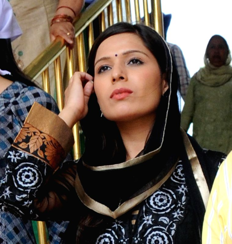 Actress Sonam Arora pays obeisance at the Golden Temple in Amritsar, on March 30, 2015.