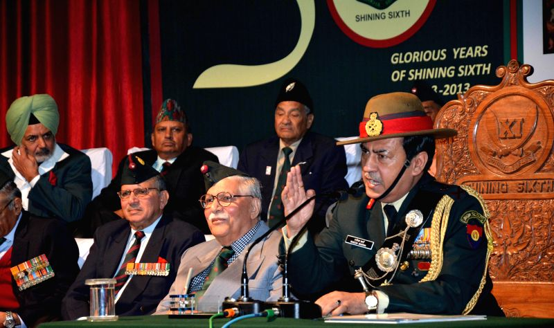 Army officers participate in the Golden Jubilee Sainik Sammelan at Khasa near Amritsar on Nov 23, 2014.