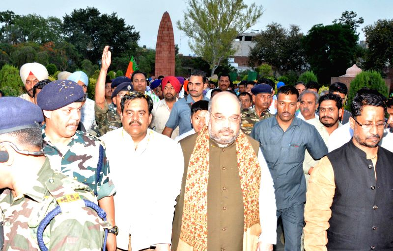 BJP chief Amit Shah at Jallianwala Bagh in Amritsar on May 2, 2015.