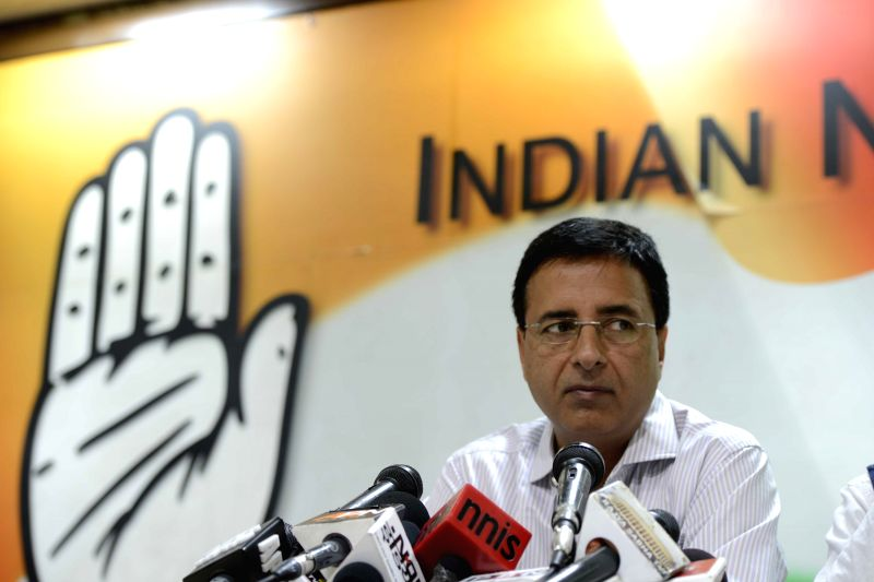 Congress spokesperson Randeep Singh Surjewala addresses a press conference in New Delhi on April 3, 2015. - Randeep Singh Surjewala