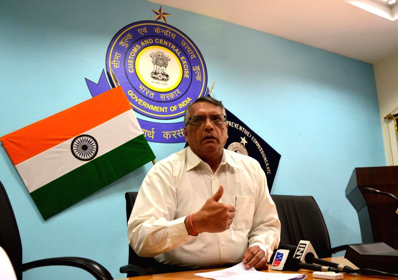 Customs commissioner Sunil Sawhney during a press conference in Amritsar, on April 4, 2015.