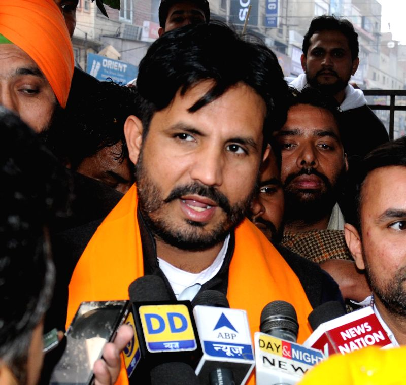 Indian Youth Congress (IYC) chief Amrinder Singh Raja Brar talks to press during a felicitation programme in Amritsar, on Jan 11, 2015.
