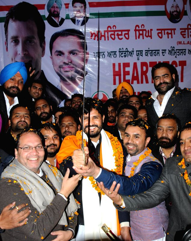 Indian Youth Congress (IYC) chief Amrinder Singh Raja Brar during a felicitation programme in Amritsar, on Jan 11, 2015.