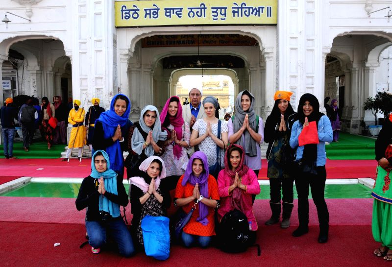 Mexican Women's Kabaddi team visits the Golden Temple in Amritsar, on Dec 12, 2014.
