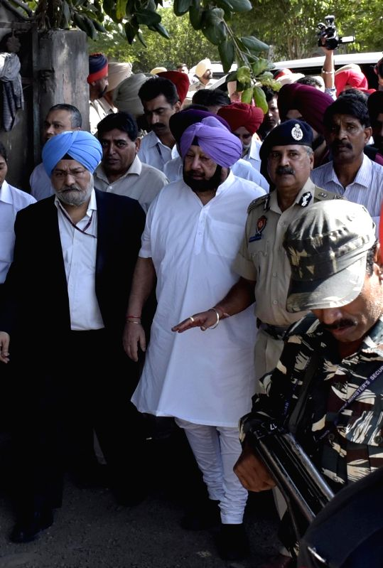 :Amritsar: Punjab Chief Minister Captain Amarinder Singh visits the site where a local train crushed at least 60 people and left 72 injured while watching the burning of a Ravana effigy from a ...