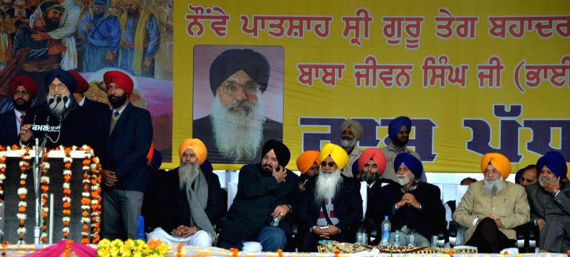 Punjab Chief Minister Parkash Singh Badal during a programme organised in the memory of Baba Jeevan Singh in Amritsar, on Dec 21, 2014. - Parkash Singh Badal