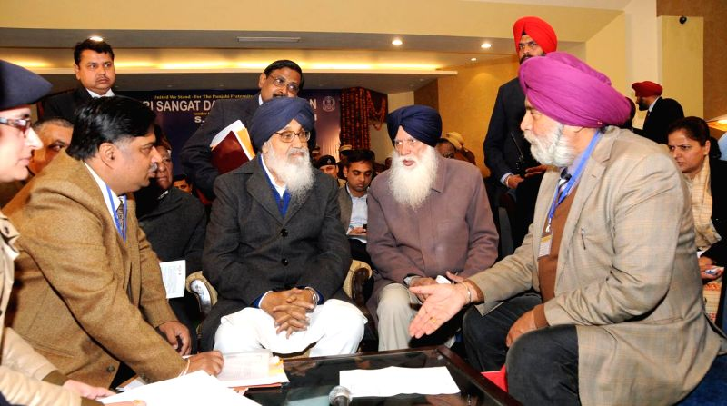 Punjab Chief Minister Parkash Singh Badal during the NRI Sangat Darshan Sammelan in Amritsar, on Jan 16, 2015. - Parkash Singh Badal