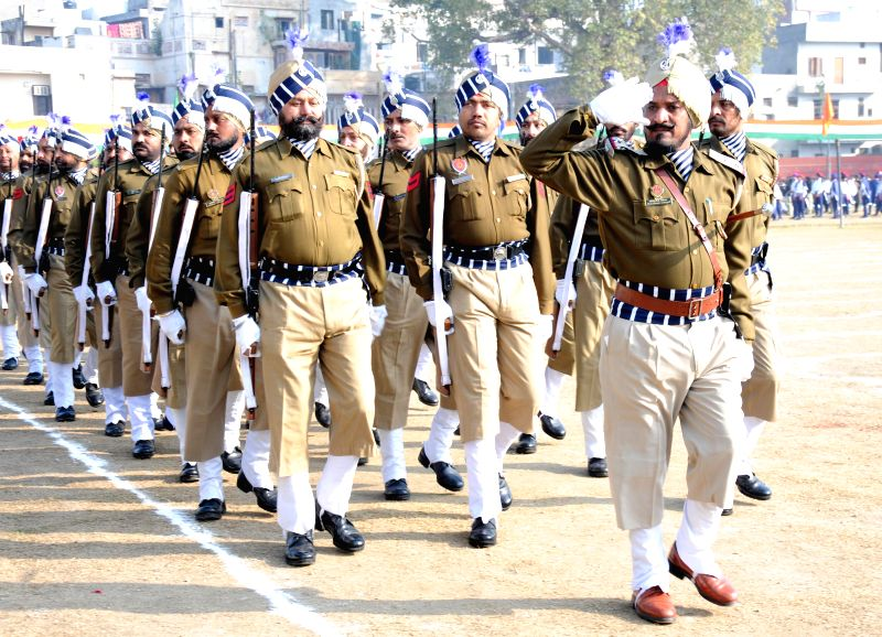Punjab Police during full dress rehearsals for Republic Day Parade 2015 in Amritsar, on Jan 24, 2015.