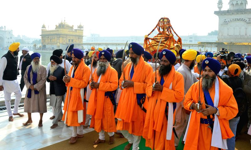 Sikh bodies including SGPC taking out a religious procession (Nagar Kirtan) to mark the martyrdom anniversary of Guru Teg Bahadur which falls on November 24th at Amritsar on Nov 22, 2014.