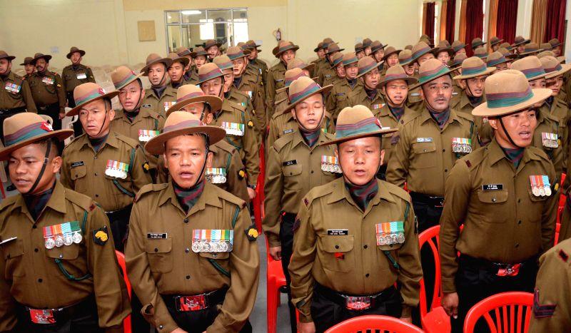 Soldiers participate in the Golden Jubilee Sainik Sammelan at Khasa near Amritsar on Nov 23, 2014.