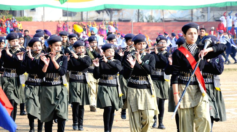 Students during full dress rehearsals for Republic Day Parade 2015 in Amritsar, on Jan 24, 2015.