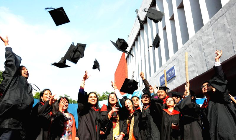 Students of Government Medical College celebrate during their convocation ceremony in Amritsar on Nov 24, 2014.