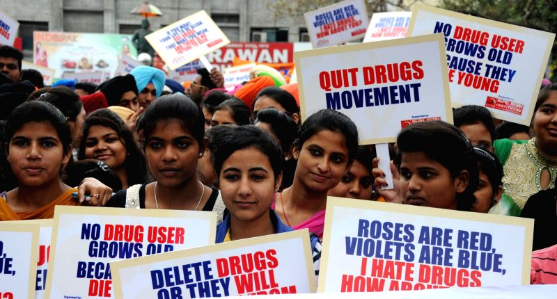Students participate in an anti-drugs rally organised in Amritsar, on April 7, 2015.